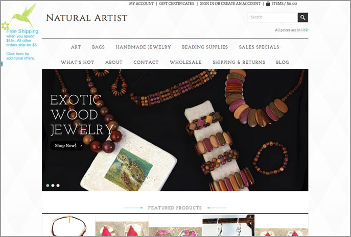 ecommerce website natural artist