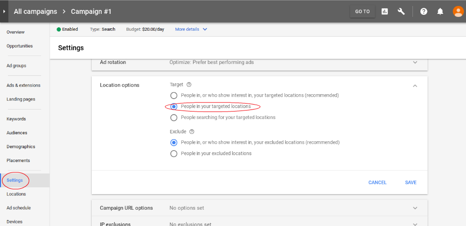 Adwords Help - Steps For Location Options Settings - Blue Mar Web